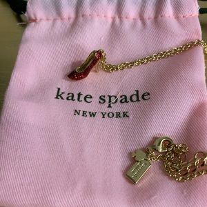 kate spade Red We Love Shoes Necklace New Dust Bag
